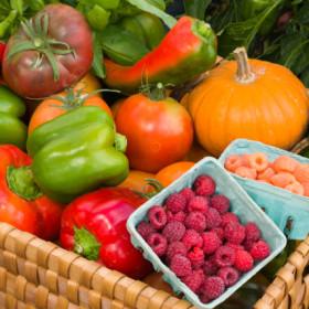 Organic edibles at farm market stand