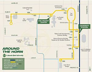 Around the Horn shuttle makes 14 stops across the CSU campus.