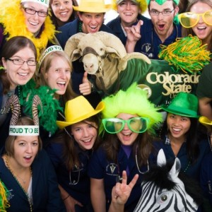 Colorado State University veterinary students get pumped up for the upcoming CSU vs. UC-Davis football game. The universities are home to the No. 2 and No. 3 veterinary schools in the nation and the two deans are betting on their respective teams, wagering local products and challenging supporters to channel fan enthusiasm into scholarship funds for veterinary students.