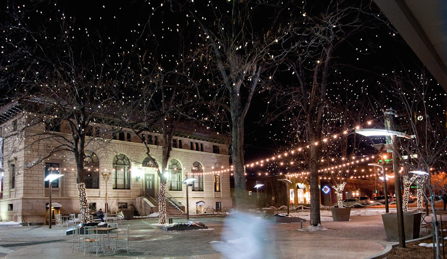 Old Town Fort Collins lit with the holiday lights