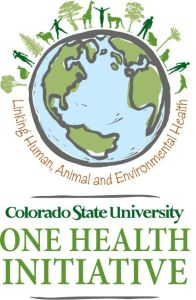 """A CSU One Health Initiative graphic with a world surrounded by people, animals, and plants, saying """"Linking Human, Animal and Environmental Health"""""""