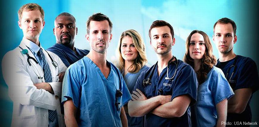 Promotional picture of seven doctors featured in the docu-drama about Vanderbilt medical doctors on the USA Network. CSU Ram Erin Mcguinn is second from the right