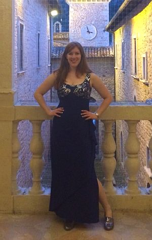 Talia Fischer in castle in Piobbico, Italy where she performed.