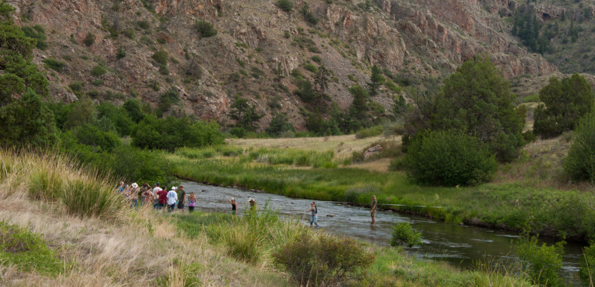 Students on Poudre River