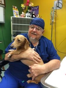 García con un paciente llamado Taco en el Denver Holistic Center.