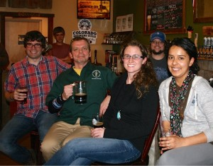 Ben Prytherch, Mark Zabel, Danielle Adney, Steve Jones (owner of Patero's Creek) and Hannah Romo at Science on Tap.