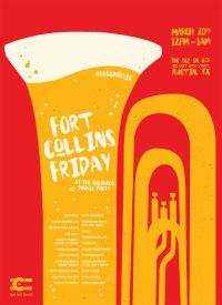 Play Fort Collins, featuring a trombone, and the times, dates, and performers