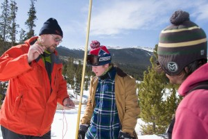 Colorado State University Ecosystem Science and Sustainability professor Steven Fassnacht and students James Bickel and Hunter Gleason take measurements on a snow survey in the South Fork of the Cache la Poudre River basin in the Pingree Park area, March 29, 2014.