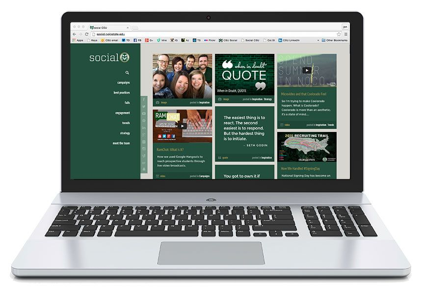 Laptop, screen showing screenshot of Social the blog