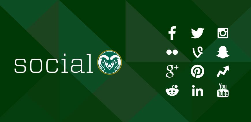 Graphic with the Social blog logo, and the logos of different social networks CSU is on, including Facebook, Twitter, Instagram, Flickr, Vine, Snapchat, Google+, Pinterest, Reddit, LinkedIn, and YouTube.