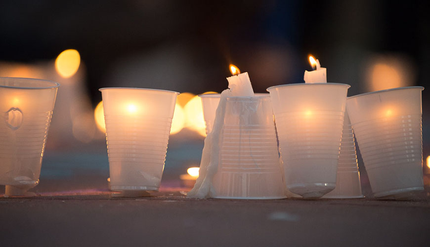 The Nepali Student Association and the CSU Community join for a candlelight vigil on the Plaza in honor and memory of the victims affected by the earthquake in Nepal. April 28, 2015