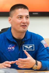 NASA astronaut and Colorado State University alumnus Kjell Lindgren visits CSU, April 17, 2014. Lindgren is assigned as Expedition 44/45 flight engineer, and is training intensively to fly to the International Space Station in 2015. He graduated with a master's degree in cardiovascular physiology from the Department of Biomedical Sciences in 1996 Lindgren had his first real exposure to NASA as a CSU grad student, when he conducted cardiovascular countermeasure research at a center in California.