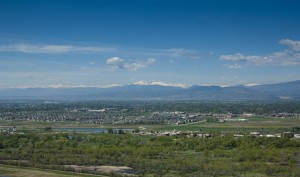 Aerial view  west side of Fort Collins with Longs Peak and the Front Range foothills in the background, May 17, 2010