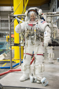 Lindgren is shown training for his mission to the International Space Station. CSU radiation researchers say space suits do not protect astronauts from radiation. Photo by Bill Stafford