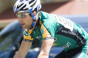 Colorado State University Rams Cycling Team member Phillip Mann competes in the Division I Men's Criterium in downtown Fort Collins, Colorado at the 2008 USA Cycling Collegiate Road National Championships hosted by Colorado State University, May 11, 2008. Mann won the men's criterum for the second year in a row. The CSU Rams Cycling Team placed 3rd overall in the three-day championship.