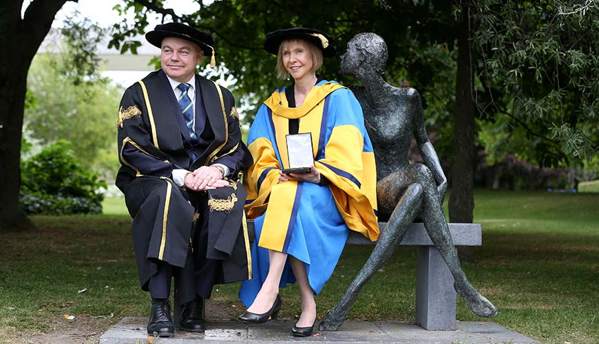 Repro Free: Tuesday 16th June 2015. The UCD Ulysses Medal has been presented to Diana Harrison Wall, University Distinguished Professor of Biology, and Senior Research Scientist at the Natural Resource Ecology Laboratory at Colorado State University. Pictured is Professor Andrew J Deeks, President UCD and Diana Harrison Wall. Picture Jason Clarke Photography.