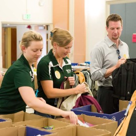 School is Cool – Stuffing backpacks, providing supplies to PSD