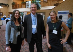 From left at the center's annual research day in March are Dr. Natalie Schwatka, an ERC and CSU alum and instructor for the Colorado School of Public Health, Dr. John Adgate, chair of the CSPH's Environmental and Occupational Health Department, and Dr. Krista Hoffmeister, an ERC and CSU alum.