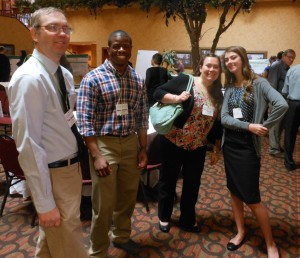 From left at Research Day are Thomas Johnson, associate professor at CSU and training director of the MAP ERC Health Physics program, with students Ammon Langley, Amanda VanDyke and Laura Krause.