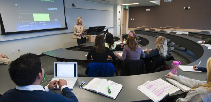 Colorado State University Marketing professor Kelly Martin teaches in a new classroom in the recently completed Rockwell Hall - West.