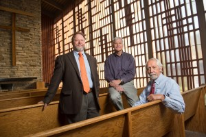 Fred Haberecht, Per Hogestad and Mike Rush, with Colorado State University's department of Facilities Management, in Danforth Chapel. November 5, 2014