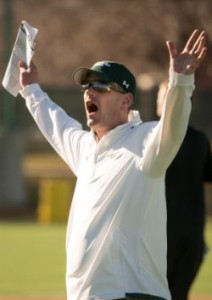 Colorado State University head football coach Mike Bobo presides over the first day of Spring football practice.