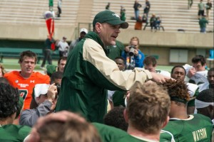 The Green and Gold football game at Sonny Lubick Field at Hughes Stadium The Green team won 38-34 and was treated to a steak dinner. The losing gold team got hot dogs. April 18, 2015