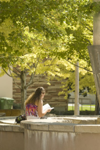 A student studies by the Engineering-Physics Water Plaza, September 2, 2011