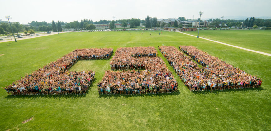"The class of 2019 spells out ""CSU"" during Ram Welcome, August 21, 2015"