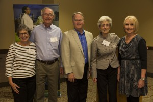 The 2015 Legacies honorees with CHHS Dean Jeff McCubbin. From left are Linda Carlson, Grant Sherwood, McCubbin, Marie Macy, and Janell Prussman.
