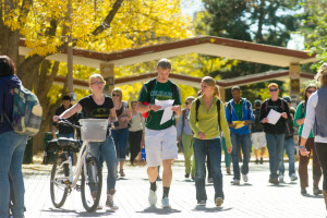 Students in between classes on a Fall day. October 15, 2012