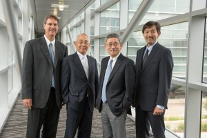 From left are Nickoloff, NIRS Fellow and International Open Lab founder Hirohiko Tsujii, NIRS Research Center for Charged Particle Therapy Director Tadashi Kamada, and Matsuura at a symposium in July 2014.