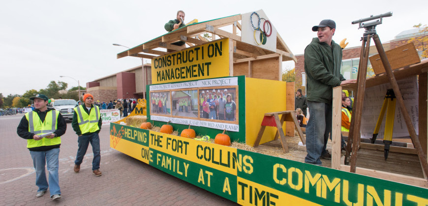 The CSU Department of Construction Management wins the Overall Sweepstakes Award during the 2012 Colorado State University Homecoming Parade, October 5, 2012.