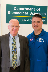 CSU Biomedical Sciences professor C.W. Miller welcomes NASA astronaut Kjell Lindgren to campus, April 17, 2014. (Photo by William A. Cotton/CSU Photography)