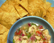 Ceviche and tortilla chips