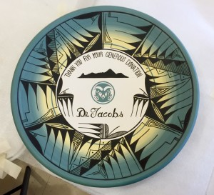 Jacobs received this piece of pottery from the tribe as a symbol of its gratitude.