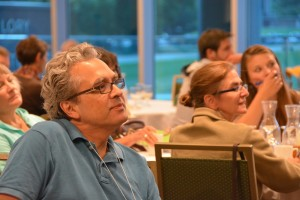 One Health Initiative Director Bruno Sobral listens to a presentation at a recent workshop on food systems.