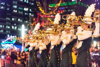 The Colorado State University Marching Band performs in the 9News Parade of Lights in downtown Denver, December 5, 2014.