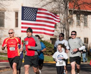 The Veterans Day 5K on the Colorado State University Oval hosted by the Adult Learner and Veteran Services Office and the CSU Student Veteran Organization, November 12, 2011