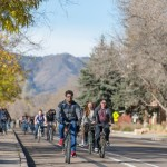 Colorado State University students ride bicycles on the bike path on Plum Street, November 4, 2015.