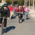 Colorado State University students ride bicycles on the bike path south of the Student Recreation Center, November 4, 2015.