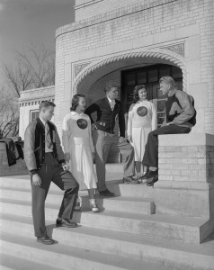 From left, Donald Dobler (future College of Business Dean), Roy Romer (Future Colorado Governor), Unidentified, Unidentified and Unidentified, hang out on campus on December 6, 1948.