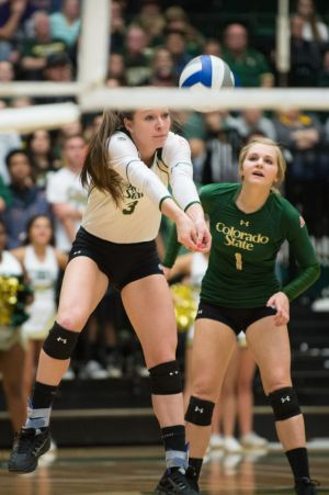 The Colorado State University Volleyball team plays Colorado University in the second round of the 2014 NCAA Volleyball Tournament in Moby Arena. CSU won 3-2 and advances to the third round. December 6, 2014