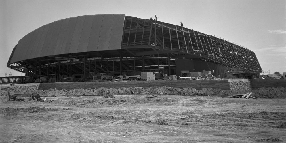 Historic photo of Moby Arena black and white