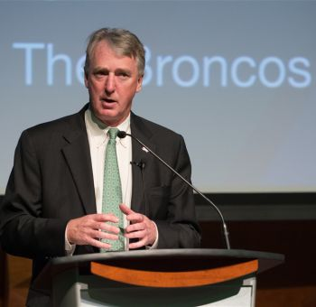 Denver Broncos President and CEO Joe Ellis was the keynote speaker at CSU Business Day in April.