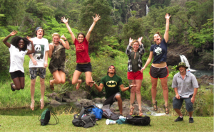 Students jump for joy during the ESS field course in Hawaii