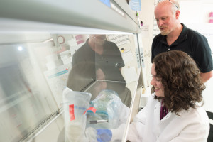 Cassidy Hagan and CSU professor Alan Schenkel talk in the lab