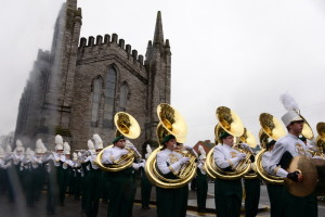 The marching band performs in the St. Pakrick's Parade in Dublin