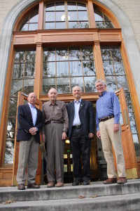 Left to right: Four of the five current and former Colorado Water Institute directors – Reagan Waskom, Norm Evans, Neil Grigg, and Robert Ward. Photo by Lindsey Middleton.