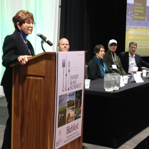 Kathay Rennels, left, leads a panel discussion on financing agriculture during the Food & Ag Summit held on March 30.